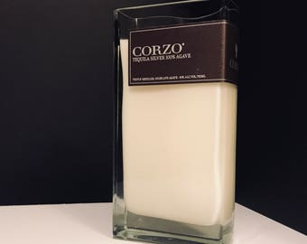 Recycled Corzo Silver 100% Agave Tequila Bottle Candle
