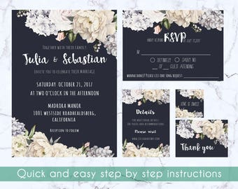 Wedding invitation suite, rsvp, thank you card, details card, favor tag