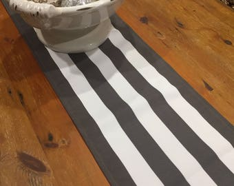 Dark Taupe/Stone Stripe Indoor/Outdoor Weatherproof Canvas Table Runners,  Quality Hand Made