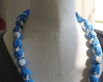 Necklace blue and white balls with polka dots