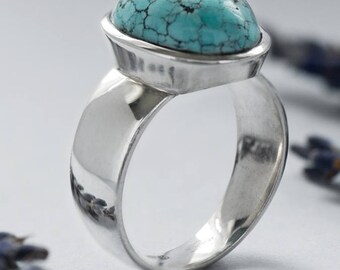 Turquoise Silver Ring art 3531 Gabilo | Natural Organic Turquoise Gemstone Sterling Silver Ring