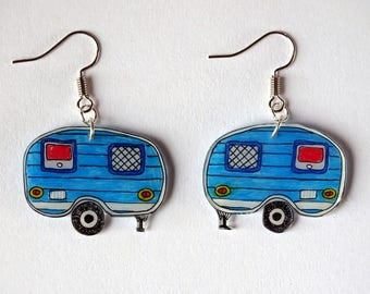 Earrings blue retro caravans!