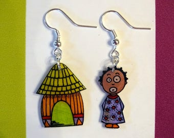 women of Africa with colourful dress earrings
