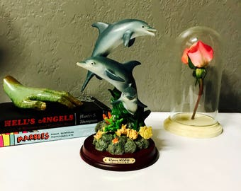 vintage dolphin coral reef statue painted on wood base three dolphins swimming