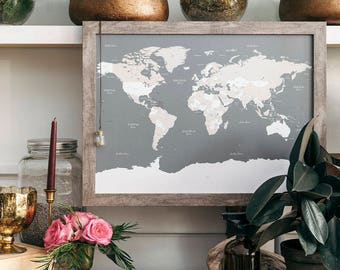 """WANDERER'S MAP TM   Framed Push Pin World Travel Map   (18"""" x 24"""")   Made in Canada"""