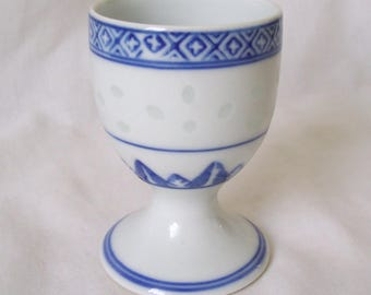 Blue and White China Egg Cup with Translucent Spots