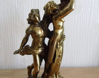 Bronze-coloured composite double erotic Greek Roman mythological man and woman