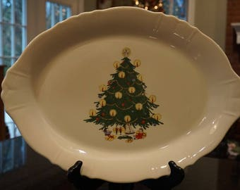 Vintage Large Christmas Tree Platter/ Unmarked Homer Laughlin Platter/ Illuminated Christmas Tree/ Merry Christmas Signed on Back