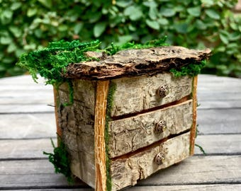 Miniature fairy dresser, Fae chest of drawers, woodland furniture