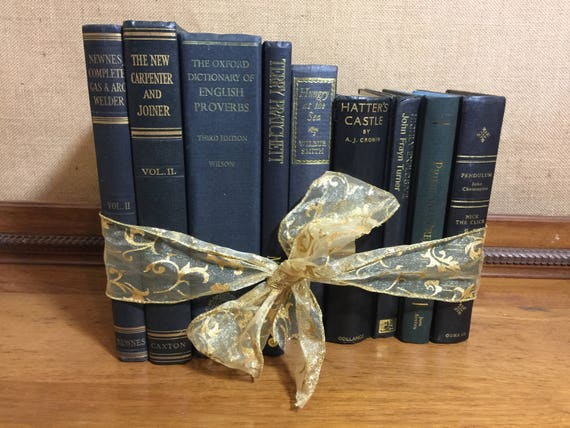 Assorted NAVY & GOLD Vintage Book Collection - Old Books Decoration - Foot Long Shelf Staging - Home Decor and Interior Design Props