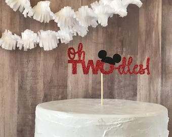 oh two-dles cake topper/mickey mouse cake topper/ birthday party