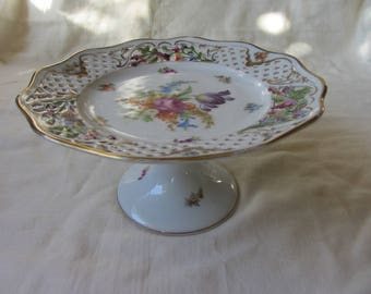Antique/Vintage Dresden reticulated comport/compote. Hand painted and gilded, floral decor. Bolted pedestal cake stand. Wedding, tea party.