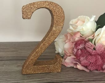 Glittered Wooden Numbers, Freestanding Numbers, Wedding Table Decoration, Glittered Table Decor, Wedding Table Numbers, Decorated Numbers