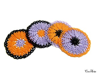 Set crochet Halloween coasters, Halloween decorations, Colorful coasters, Sottobicchieri colorati per Halloween