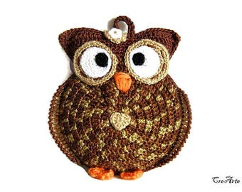 Brown crochet owl potholder, presina marrone gufo all'uncinetto
