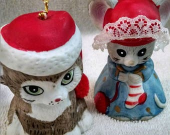 Pair of Jasco Bisque Bell Christmas Ornaments