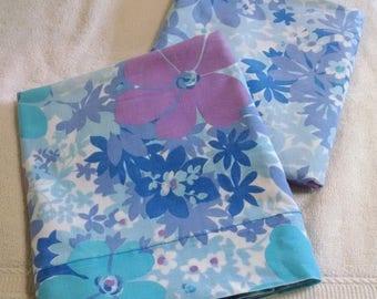 Vintage Eaton's Blue Purple Pillowcase Pair
