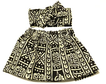 Black African Ankara Skirt, Headwrap, African Baby Clothes, Hair Wrap, Hair Accessory, Girls Clothing