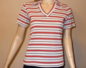 NWT 1970s Mod K-Mart Red White  Black Striped Polyester Women's Short Sleeve Pullover V-Neck Top M