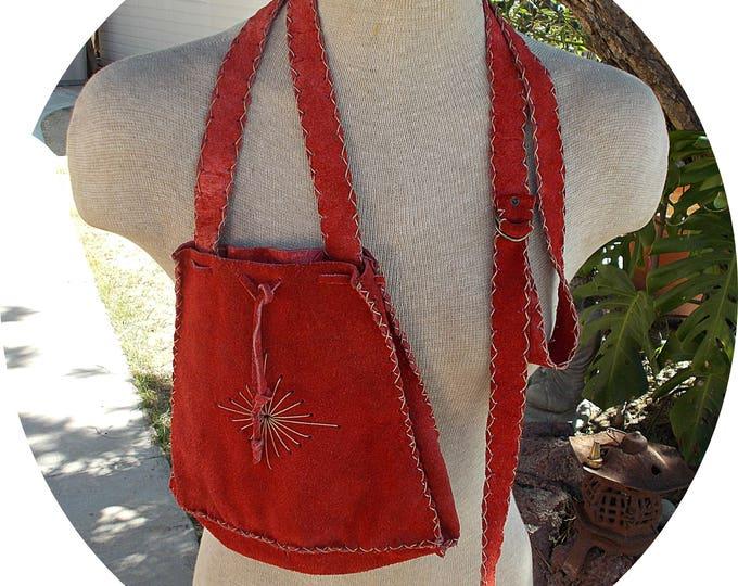 Vintage 60s 70s Hippie Chic Red Suede Leather Embroidered Sunburst Handmade Adjustable Strap Handbag Tote Purse