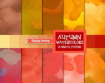 Watercolor Digital Paper, Orange Watercolor Digital Paper, Watercolor Scrapbook Paper, Autumn Watercolor Background, Fall Watercolor Texture