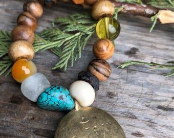 Sandalwood Vintage Glass Sleeping Beauty Turquoise African Recycled Trade Glass Hand Carved Bone Tibet Artisan Brass Boho Tribal Gemstone