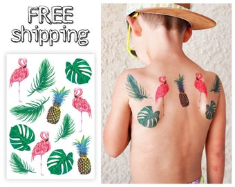 """Temporary tattoos """"Tropic"""". Tropical kids body stickers with pineapple, fruit, pink flamingo, bird, palm leave, monstera leaf TA054"""