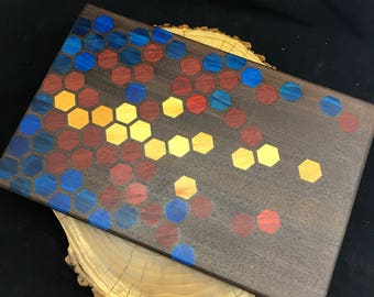 Superman Colors Honeycomb inlay Cutting board- Walnut with Padauk, Yellowheart and Blue dyed Poplar