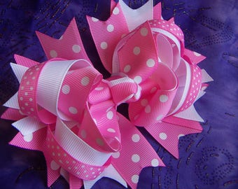 NEW Valentine  Pink  & White with Dots Hair Bow Handmade Large Bow French Clip Only