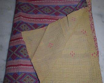 Blanket Throw / Bedding Gudari / Vintage Kantha Quilt Reversible Ralli Indian Cotton 2385 BY artisanofrajasthan