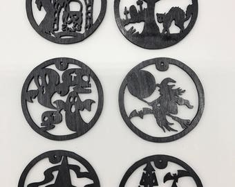 Halloween Ornament Set #1 - Black Painted Plywood