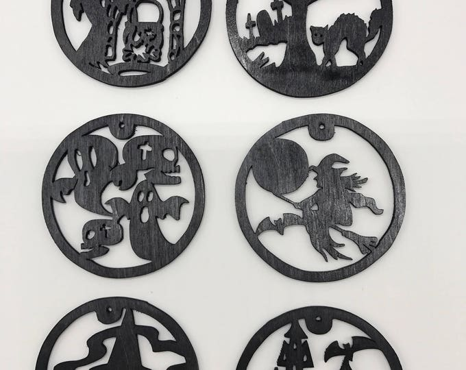 Featured listing image: Halloween Ornament Set #1 - Black Painted Plywood