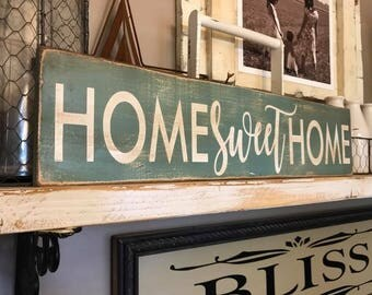 Home Sweet Home Farmhouse Aged Distressed Sign