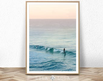 Surf Photography, Beach Wall Art Print, Ocean Water Surfing, Coastal Decor, Digital Download, Large Printable Poster, Colour Photography