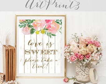 Love is Sweet, Please Take a Treat Sign Printable, Rustic Wedding Sign, Floral Wedding Sign, Gold Wedding Sign, Candy Bar Sign Printable