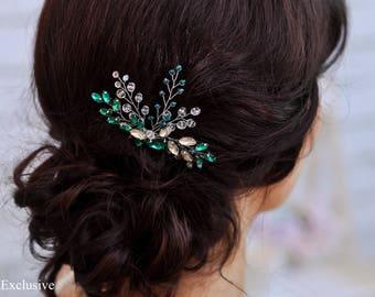 Bridal hair comb silver Green hair comb Wedding hair comb small Wedding comb Bridal comb Wedding hairpiece Bridal hair piece silver