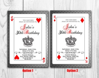 Playing Cards Invitation, Poker Invite, Royal, Queen of hearts, king of diamonds, Las Vegas Birthday invitations, unique playing card casino
