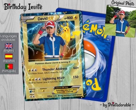 Pokémon Card Birthday Invitation - Customizable Pokémon GO Invite - Electric Type Birthday Invitation and Poké Card - Digital File