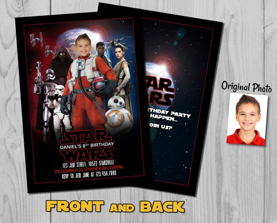Star Wars Invitation - The Last Jedi Birthday Invite with customizable photos - Rebel Poe Character - Star Wars Rebellion - Rebel Alliance