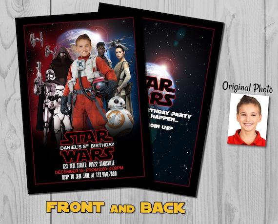 Star Wars Invitation - The Last Jedi Birthday Invite with customizable photos - Rebel Poe Character - Star Wars Rebellion - Rebel Alliance