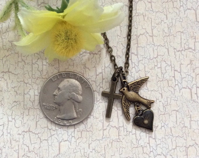 Mustard Seed Jewelry, Faith Jewelry, Mustard Seed Necklace, Christian Gifts, Cross necklace, bird necklace, antique bronze necklace