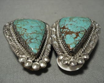 Huge Vintage Navajo Red Mountain Turquoise Silver Clip Earrings