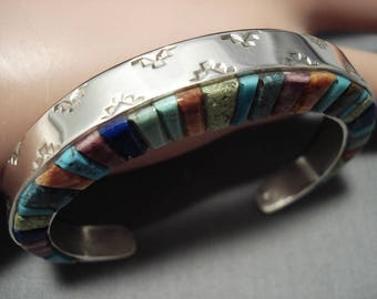 Vintage Navajo Turquoise Sterling Silver Native American Bracelet