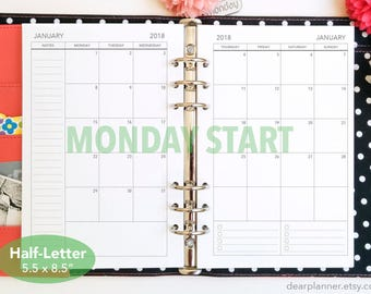 PRINTED Mo2p - BLANK back - MONDAY start - Month on 2 page calendar - Dated thru December 2018 - Monthly planner insert - Half letter - 25HB