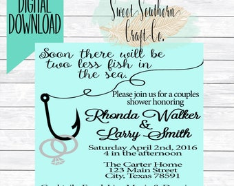 Two Less Fish in The Sea Bridal Shower Invitation,Fishing Couple, Hunting,Outdoors,BBQ,I Do BBQ,Couples Shower,Wedding Party,Bachelorette