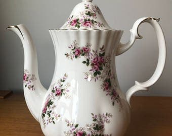 "Royal Albert ""Lavender Rose"" Vintage Coffeepot, Pink Rose Purple and Green Leaves Coffee / Tea pot, Bone China"