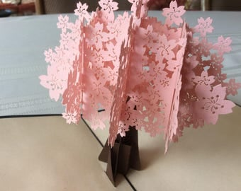 PINK BLOSSOM TREE Pop Up Card