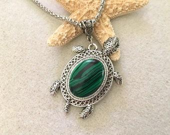 Malachite necklace turtle necklace turtle jewelry vintage jewelry tortoise necklace green malachite cabochon jewelry turtle pendant tortoise
