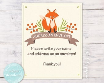 Baby Shower Address an Envelope Sign - Please Write Your Name and Address on an Envelope  - Woodland Baby Shower - 0006-N