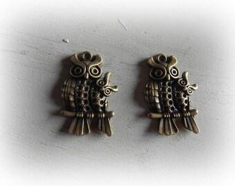 2 charms - 43 * 28 mm antique bronze OWL pendants